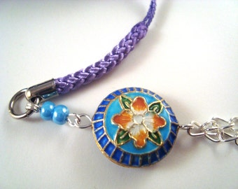 Blue Flower Cloisonne Cellphone Charm CH003 cell phone charm
