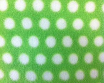 Lime and White Polka Dot Print Anti Pill Fleece Fabric by the yard