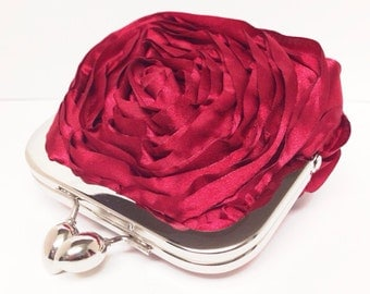 Last one Red Rosette Coin Pouch Ready to Ship
