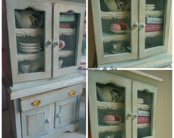 Wooden dresser. Furniture for dollhouse. 1/12th scale