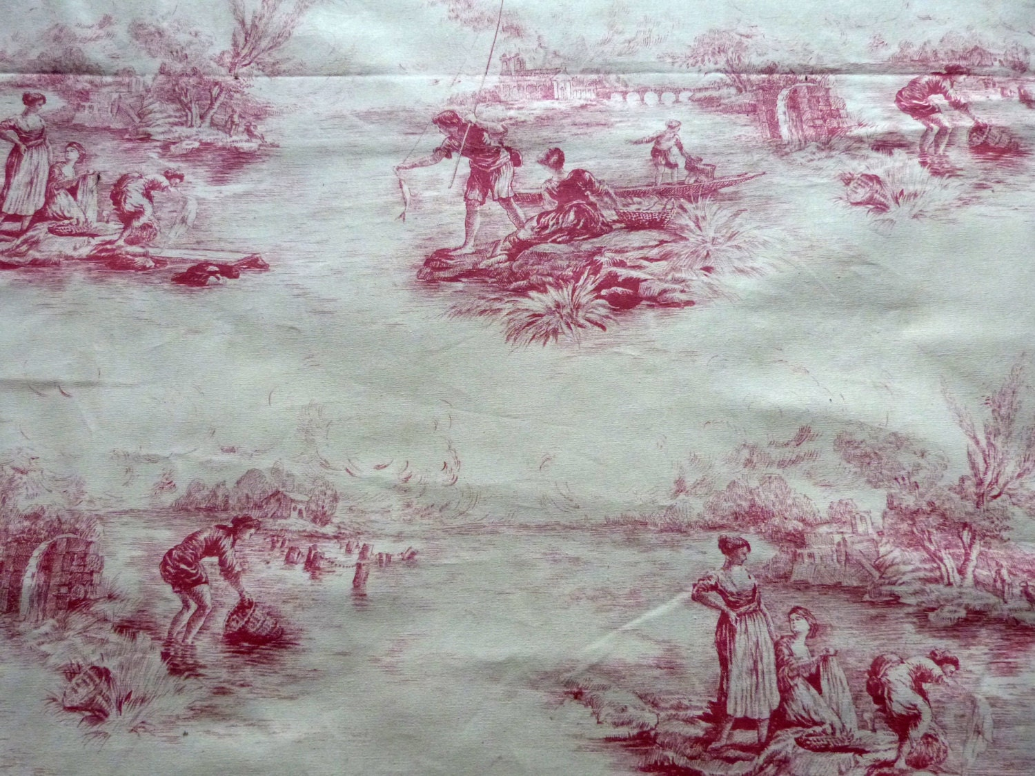 Vintage french toile de jouy fabric huge toile fabric w french for French toile fabric