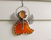 Amber Waterglass Angel Ornament or Sun Catcher with Amber Crystal Gem Head and Twisted Wire Halo - Tibetan Silver Crucifix  Embellishment