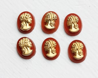 Red Gladiator Cabochons, Red Cameo Cabochons, Red Cameos (6x)