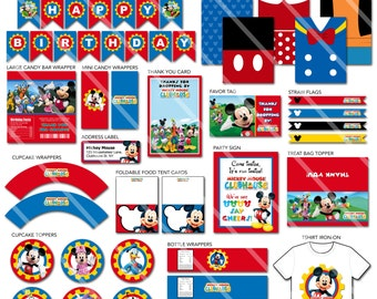 Mickey Mouse Party Decorations, Mickey Mouse Clubhouse Birthday Decorations, Mickey Mouse Party Printables, Mickey Mouse Party Decor Package
