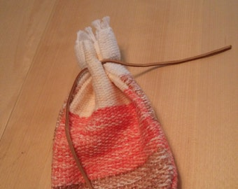 Natural Colored Handwoven Drawstring Pouch, DnD Pouch, Tarot Card Holder