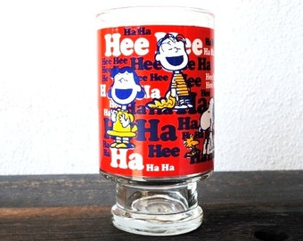 Vintage Snoopy Charlie Brown Cartoon Drinking Glass, HUGE 1965 Peanuts Characters Collectible