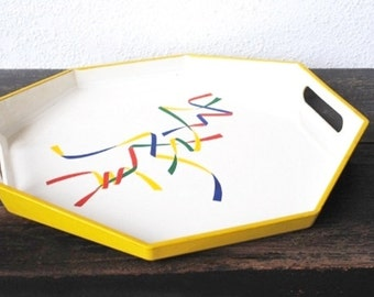 Mod Lacquer Wood Tray, Octagon Toyo Pop Art Geometric Ribbons, Unique Home Decor Serving, White Yellow Handles