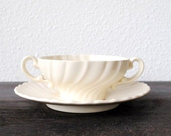Gladding McBean Coronado Cream Soup Bowl & Saucer, 1930s Antique China