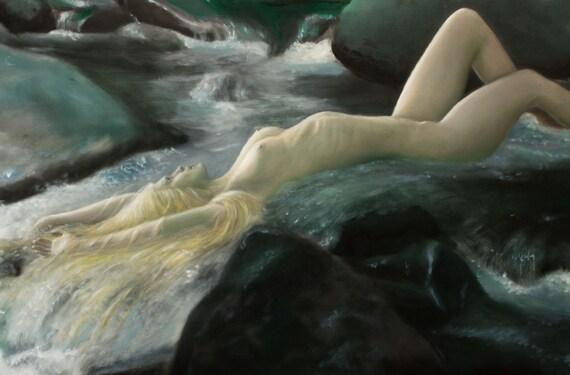 Original oil figure painting, Nude Woman in Water  : Ondine