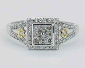 Diamond Ring Engagement Promise Ring Cluster Ring 14K White and Yellow Gold Size 7.25