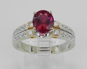 Diamond and Oval Pink Tourmaline Engagement Ring 14K White Yellow Gold Size 7.25