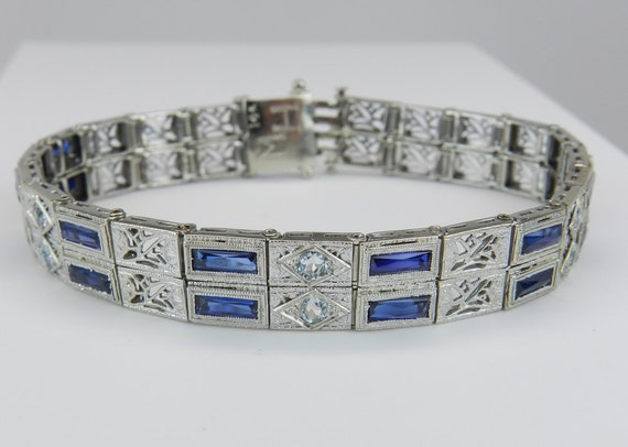 Antique Art Deco Aquamarine and Sapphire Filigree Tennis Bracelet 14K White Gold