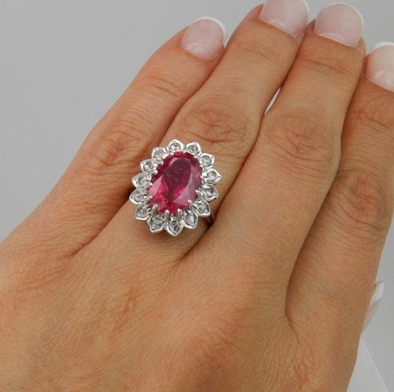 4.84 ct Rose Cut Diamond and Pink Tourmaline Halo Engagement Ring 14K White Gold Size 5.5