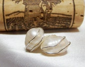 Pearl Post Earrings - Jewelry - Earring - Post - E15 - stud - pearl - Elegantly wirewrapped - Sterling silver wire - handcrafted in ky
