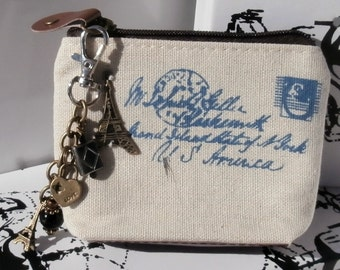 Paris Purse, Change Purse, Coin Purse, zippered, key chain, key fob, charm, key chain charm dangle C008