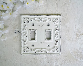 Cast Iron toggle Double Switch Plate Cover, Ornate Wall Decor, shabby chic,