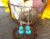 Turquoise and Sterling Silver long earrings, Handmade Wires eco friendly sterling, Cowgirl Glam Sundance Style Jewelry