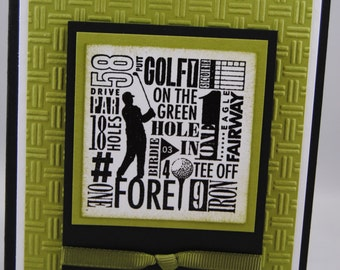 Handcrafted Masculine Golf Birthday Card/Invitation