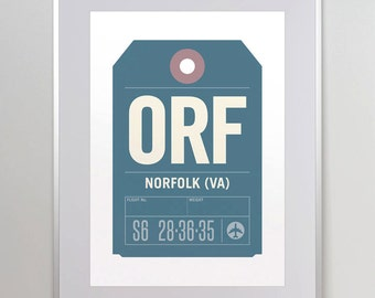 Norfolk, Virginia, ORF. Luggage Tag Poster. Baggage Tag Print. Travel Poster. Airport Code. Typographic Print. A3. 11x14.