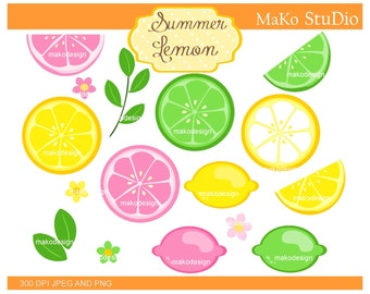 Lemon Clip Art _ Summer Lemon Digital Clipart.Lemonade Clipart,Citrus Summer Fruits Clipart,Lemons,Pink,Yellow,Lime,citrus,instant download