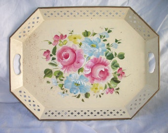 Vintage Hand Painted - Roses - Tole - Metal Serving Tray - Shabby - Bohemian - Gypsy Chic - Cream White