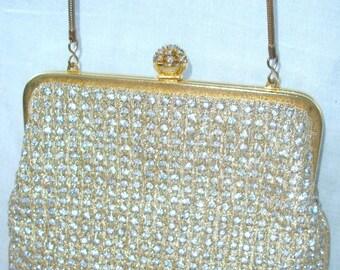Vintage Rhinestone Purse ~ Formal ~ La Regal Jeweled bag ~ Wedding ~ Bride ~ Chic Gathering ~ Gold tone