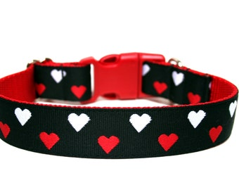 "Valentines Day Dog Collar 1""  Heart Dog Collar"