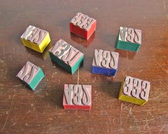 vintage metal block type number sets 1 2 3 4 / New Year get organized