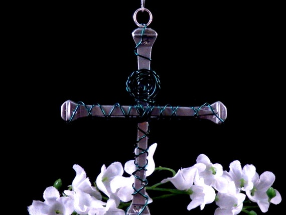 Cross Christmas Ornament - Wire Wrapped Horseshoe Nail Cross - Christian Home Decor - Country Western Home Decor - Handmade Free Shipping