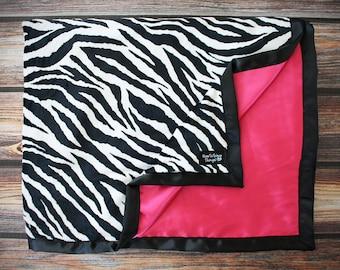 Minky Blanket, Zebra Minky, black white and hot pink, minky and satin, adult minky, oversized minky, large blanket, zebra minky and satin