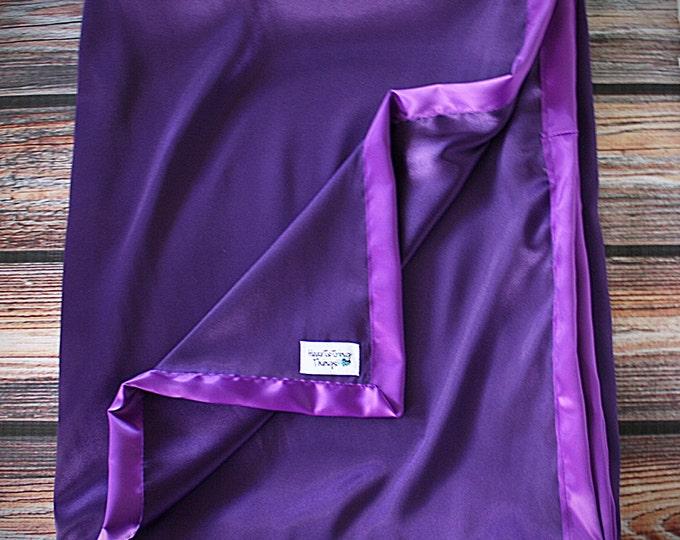 Satin blanket, Silk blanket, Purple Blanket, Purple Satin, Baby Girl, Soft Blanket, silk woobie, soft blanket, Blanket for girl, Charmeuse