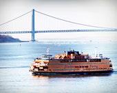Staten Island Ferry, 8 x 10 Fine Art Photograph, New York, Manhatten, Sunrise,New York Harbor, Dorm Decor, Vintage Blue, Orange, Bridge