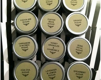 Set of 12 Individual 1oz Food Safe Tins of Gourmet Sugars