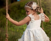 Ivory Linen and Lace Knot Dress - Flower Girl Dress- 2T-5T