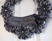 "Creepy Chic Happy Halloween Wreath Paper Flower Black Flowers Halloween Decor 12"" with Glittered Crow Raven"