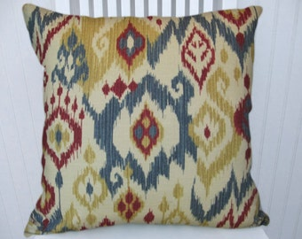 Red Blue Ikat  Pillow Cover-18x18 or-20x20 or 22x22--Duralee Decorative Accent Pillow-- Blue, Red, Honey and Cream.