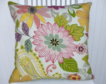 Pink, Green Decorative Pillow Cover--18x18 or 20x20 --Floral--Modern Flowers- Pink, Green, Yellow, Purple.