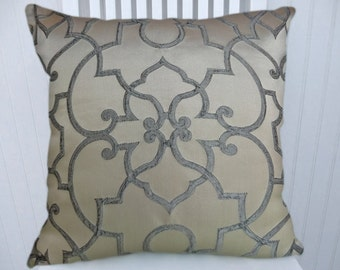 Blue Cream Pillow Cover-Filigree 18x18 or 20x20 or 22x22 Decorative Pillow, Throw Pillow - Decorative Accent Pillow