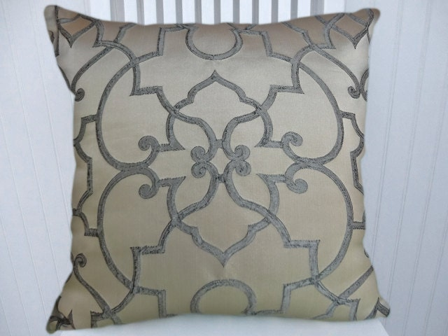Cream Decorative Pillow Covers : Blue Cream Pillow Cover-Filigree 18x18 or 20x20 or 22x22