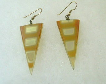 Hand Crafted Gold  Dichroic Glass Triangle Earrings No. 989