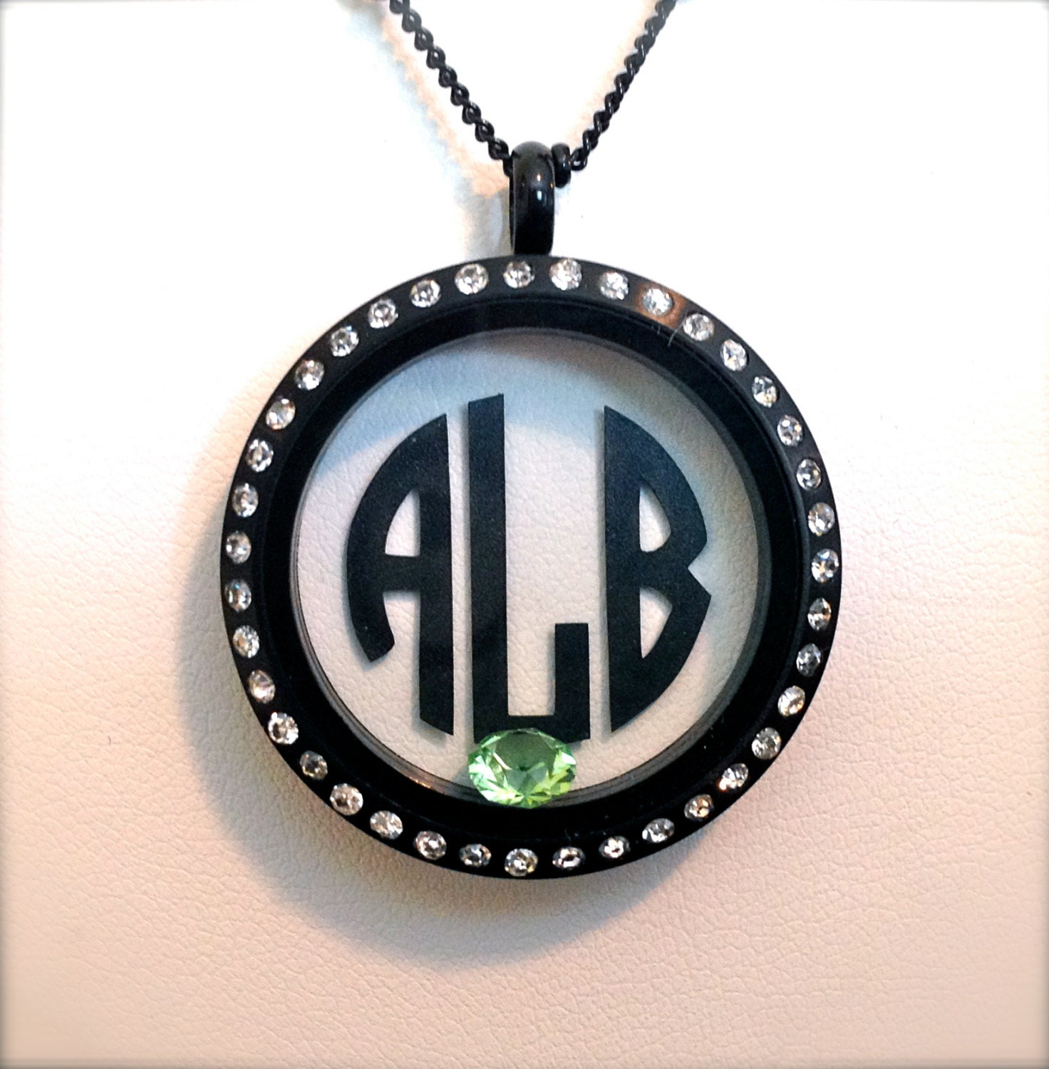 circle monogram for floating charm locket necklace by