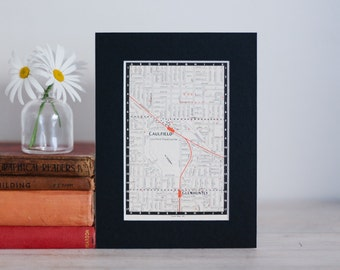"""1950s map of Melbourne suburbs, Australia - Caulfield, Glenhuntly and East Malvern, ready to frame, 6 x 8"""""""