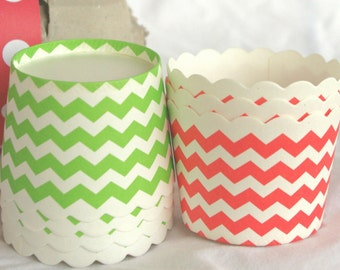 Small Red and Green Chevron-Nut/Candy/Baking Cups--25ct--Parties--cupcakes-gumballs-snacks