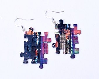 Puzzle Piece Earrings / One of a Kind Jewelry / Multi Color