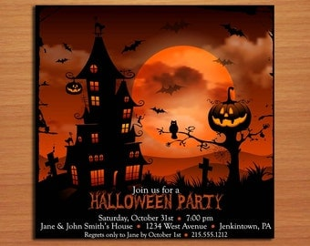Sunset Haunted House Halloween Party Customized Printable Invitations /  DIY