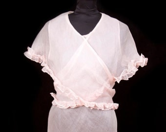 1930s Pink Organdy Light As Air Ruffle Cape Dress