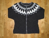 Icelandic cardigan/sweater with buttons, stone grey, grey and white, XS-S-M-L-XL-XXL-3XL-4XL-5XL-6XL Made to order