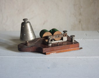 French Vintage Telephone Ringer // 1940's Industrial Wood & Metal Bell //  Green Brown Wooden