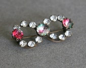 Antique Victorian Bow Shaped Pin Brooch of Clear Paste Rhinestones & Iris Glass Stones, Vintage 1890s