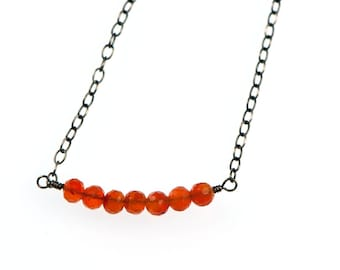 Delicate Carnelion Necklace | Red-Orange Sterling Silver Bar Necklace | Carnelion Gemstone Oxidized Sterling Silver Jewelry NS51